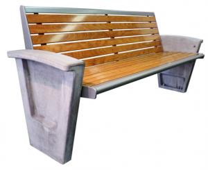 Bank aus Beton mit Holz- und Metallelementen